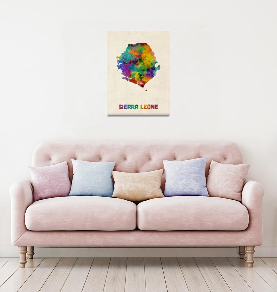 """""""Sierra Leone Watercolor Map""""  (2016) by ModernArtPrints"""
