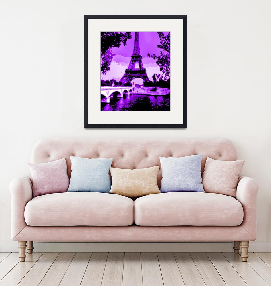 """Eiffel Tower Seine River Enhanced Violet Cropped""  (2013) by TheNorthernTerritory"