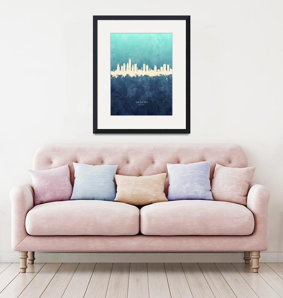 """Nairobi Kenya Skyline""  (2019) by ModernArtPrints"