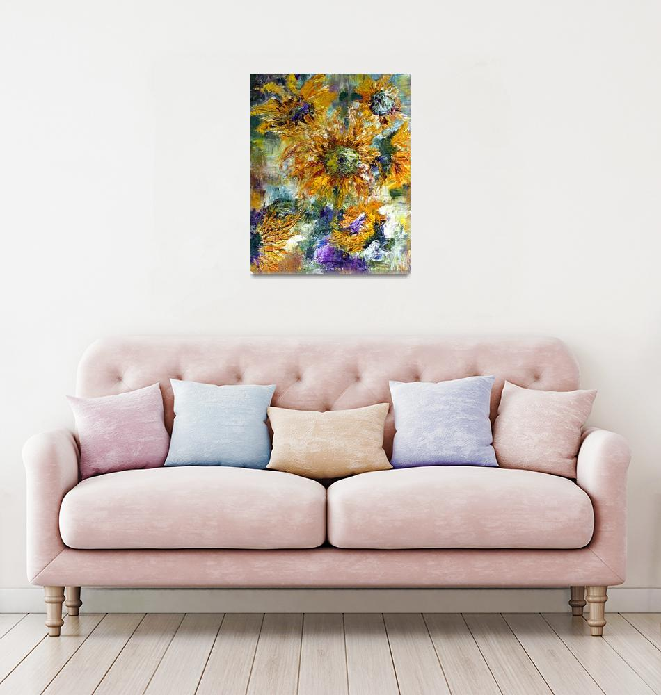 """Modern Impressionism Sunflowers Oil Painting""  (2020) by GinetteCallaway"
