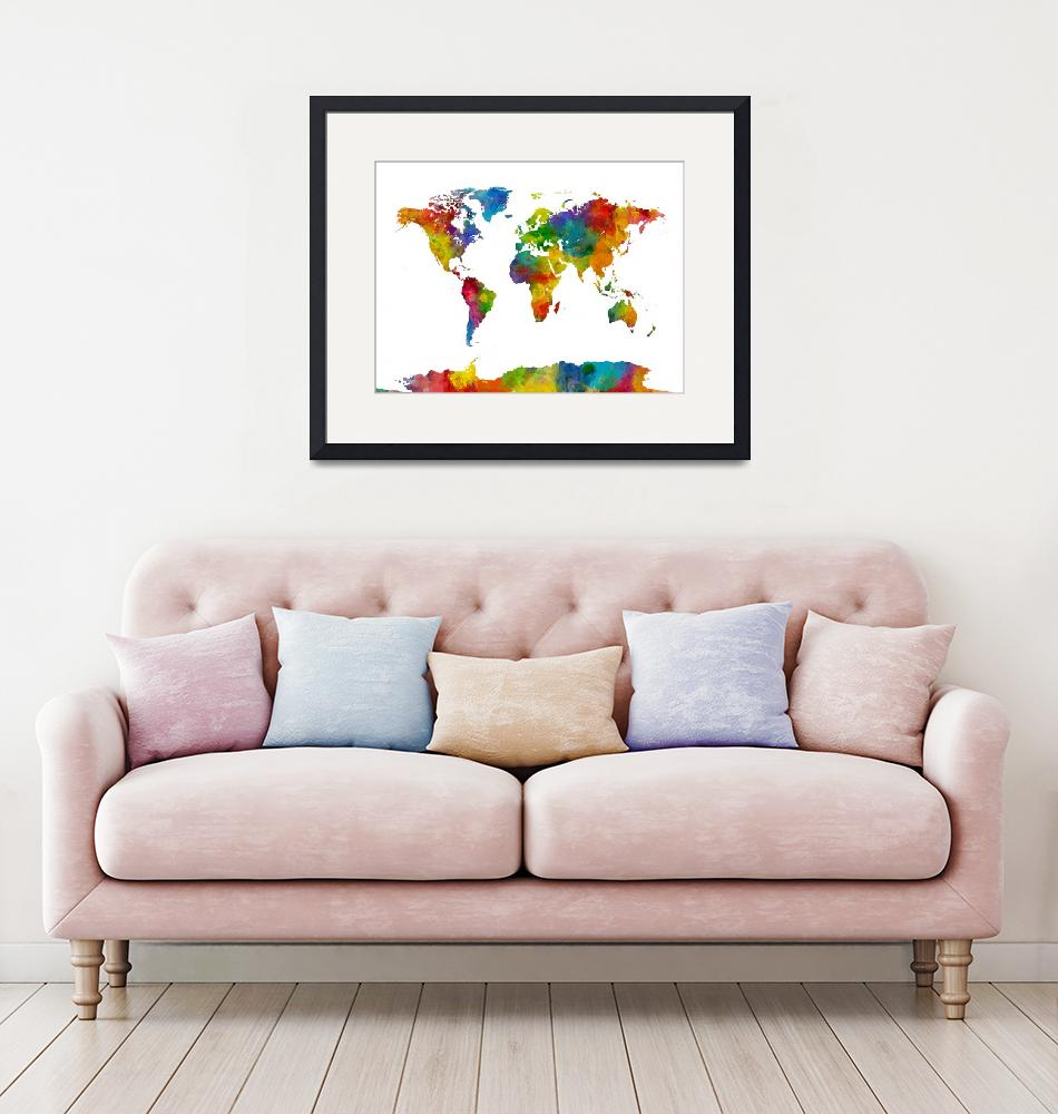 """""""Map of the World Map Watercolor""""  (2015) by ModernArtPrints"""