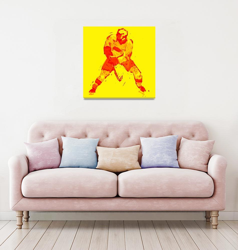 """Hockey Defenseman yellow red (c)""  (2014) by edmarion"