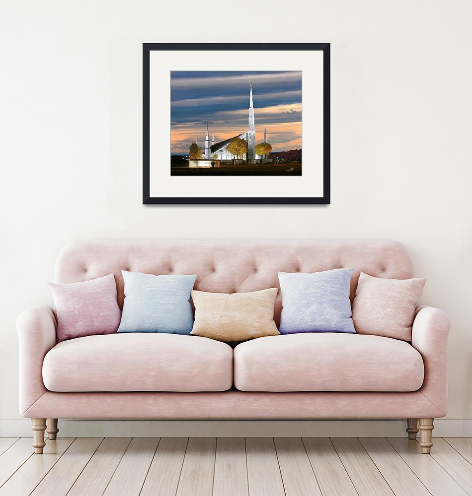 """""""20x24 Cloudy Sunset Boise Temple""""  by lightvoyages"""