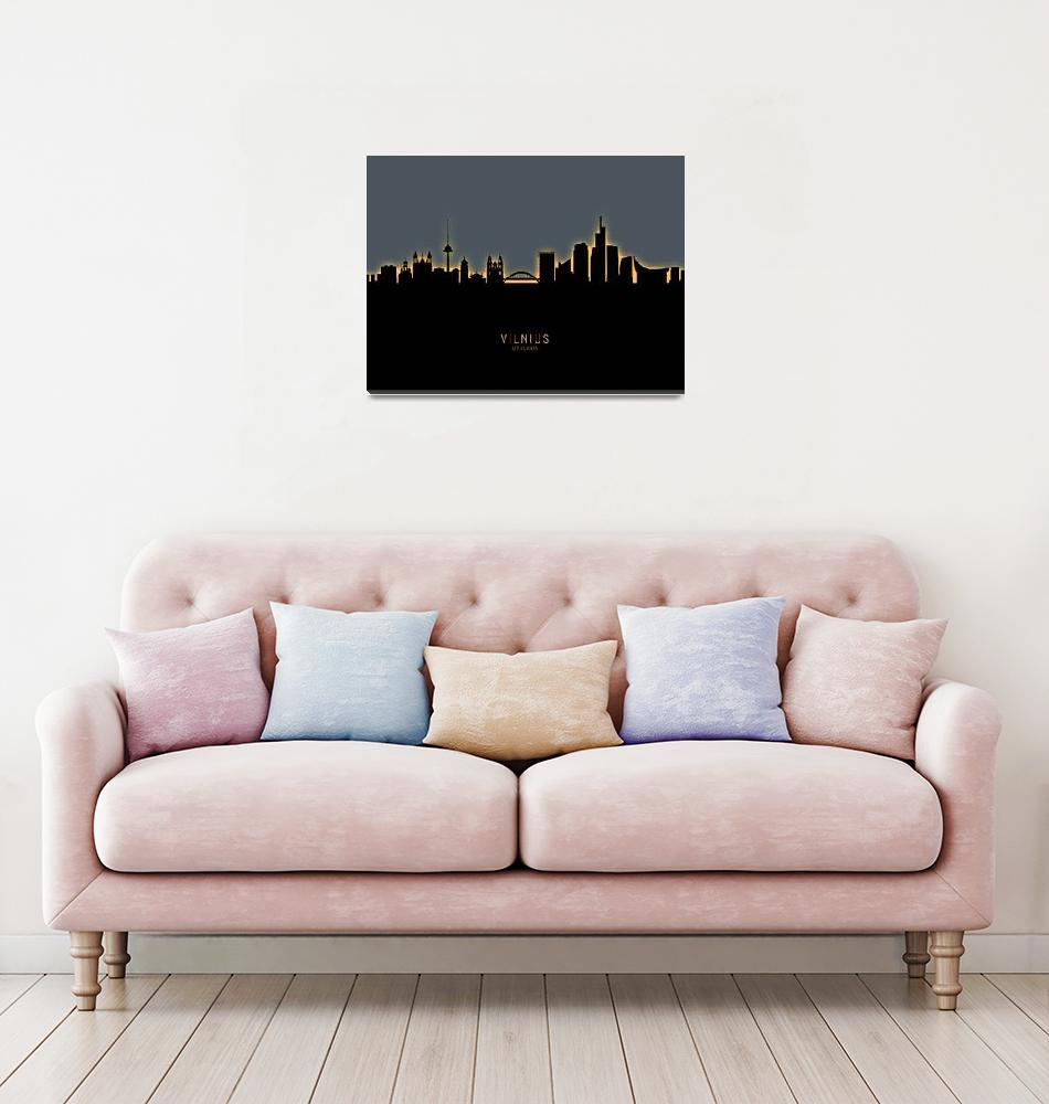 """Vilnius Lithuania Skyline""  (2019) by ModernArtPrints"