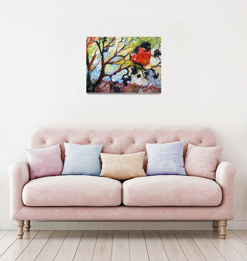 """Impressionist Red Bird & Black Berries""  (2008) by GinetteCallaway"