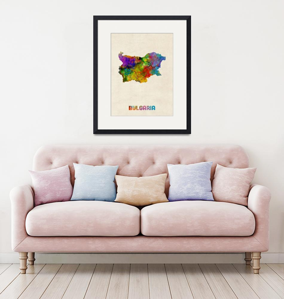 """Bulgaria Watercolor Map""  (2016) by ModernArtPrints"