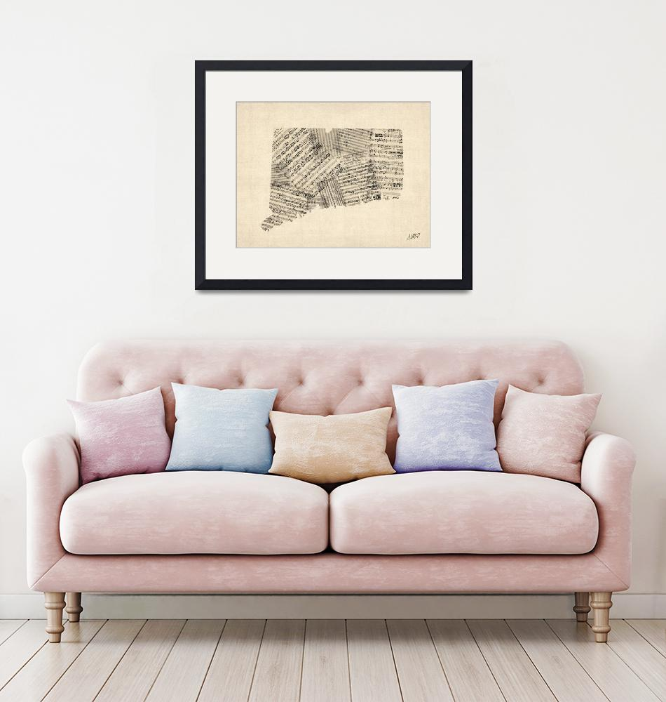 """Connecticut Old Sheet Music Map Signed""  (2015) by ModernArtPrints"