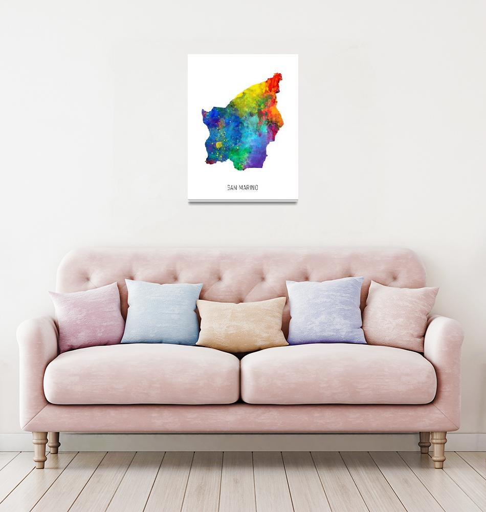 """San Marino Watercolor Map""  (2019) by ModernArtPrints"