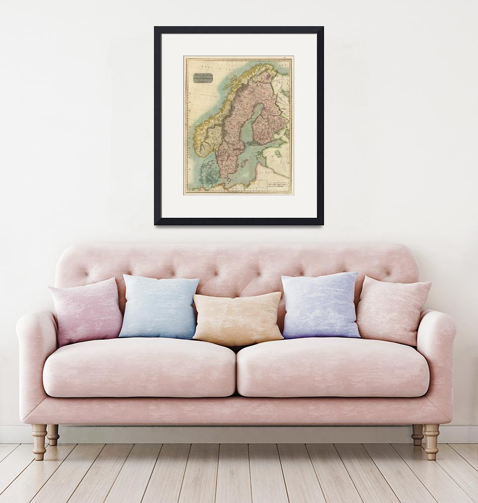 """""""Vintage Map of Norway and Sweden (1817)""""  by Alleycatshirts"""
