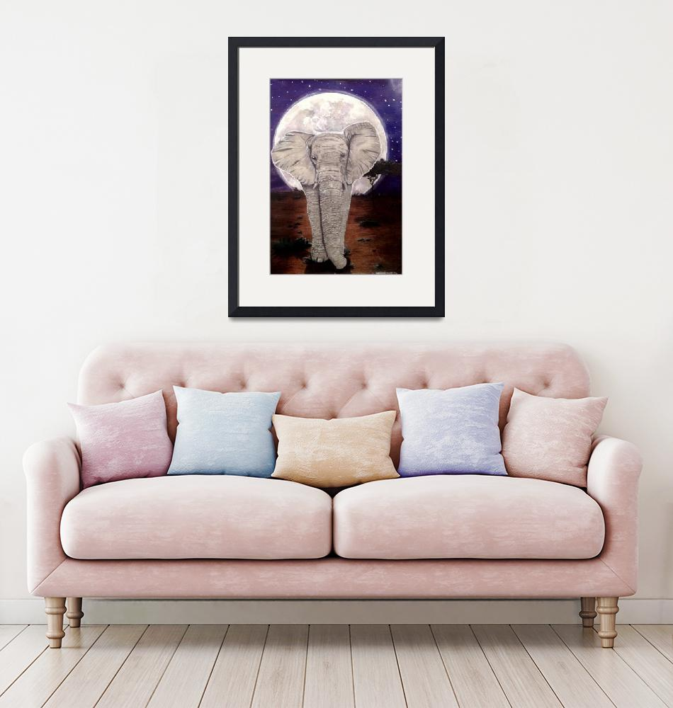 """Elephant by Moonlight""  (2016) by EWorthington"