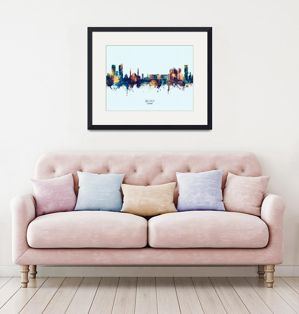 """Beirut Lebanon Skyline""  (2019) by ModernArtPrints"