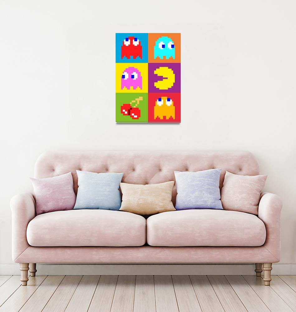 """PacMan Squares""  (2010) by ModernArtPrints"