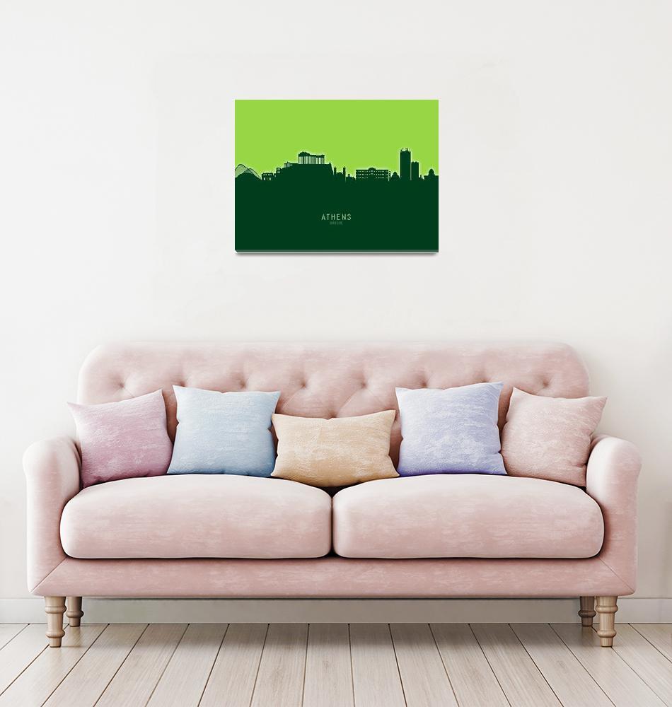 """""""Athens Greece Skyline""""  (2020) by ModernArtPrints"""