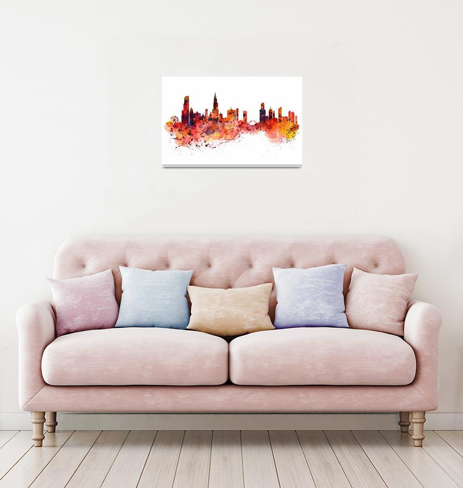 """""""Chicago Watercolor Skyline""""  (2015) by MarianVoicu"""