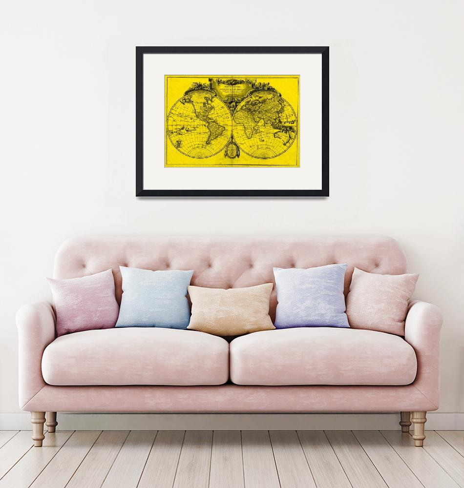 """""""World Map (1775) Yellow & Black""""  by Alleycatshirts"""