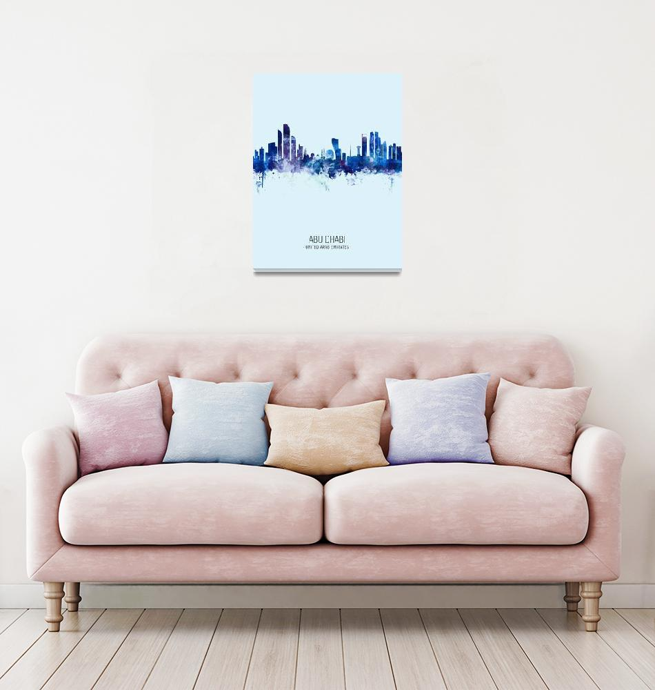 """Abu Dhabi Skyline""  (2019) by ModernArtPrints"