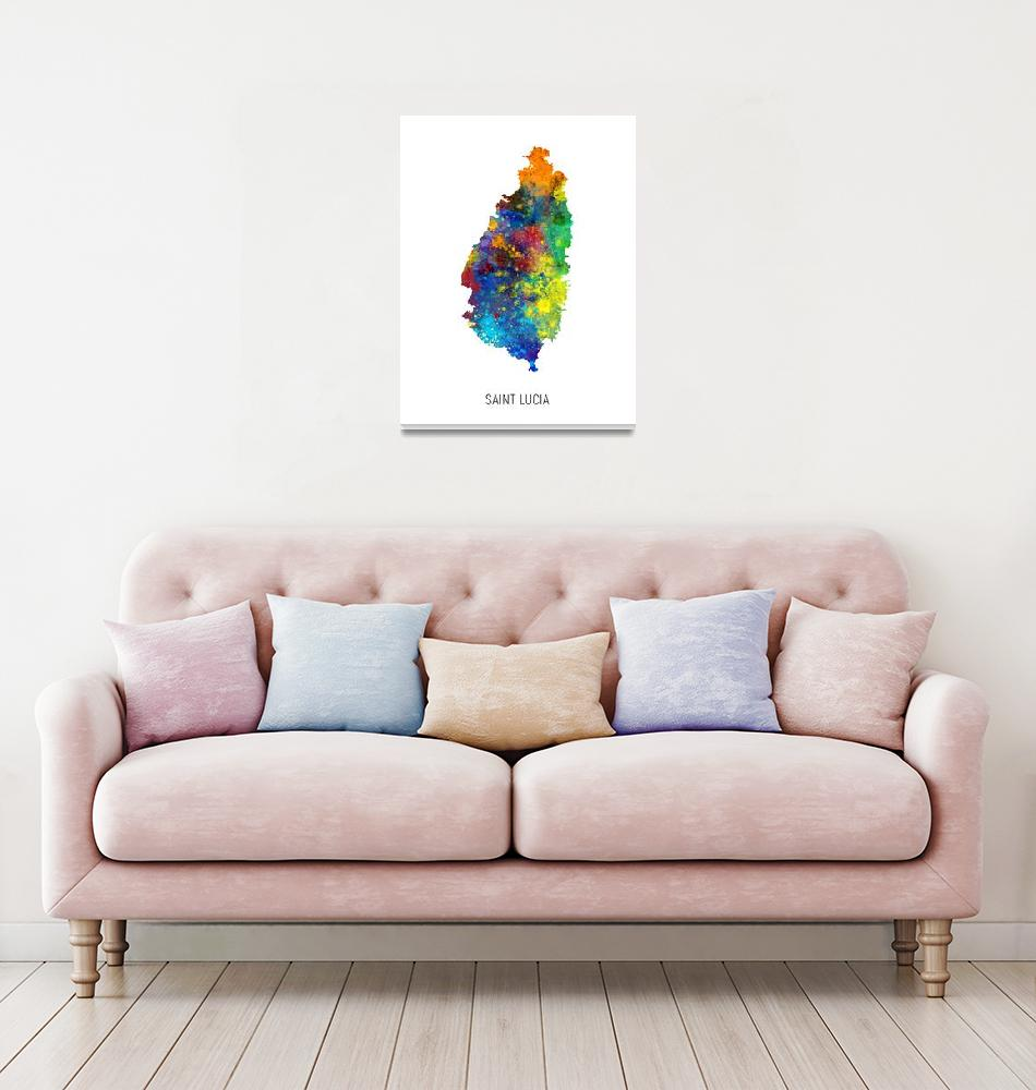 """Saint Lucia Watercolor Map""  (2019) by ModernArtPrints"