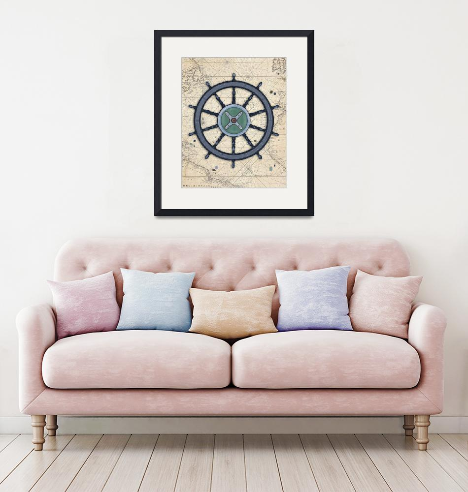 """""""Out at Sea - Old Ship Wheel"""" (2018) by Littlepig"""