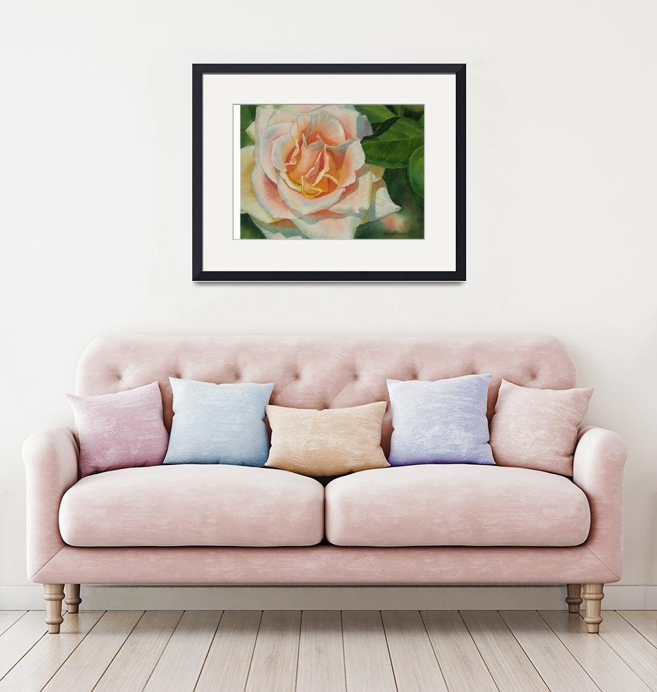 """Pink and Peach Rose Bud""  (2013) by Pacific-NW-Watercolors"