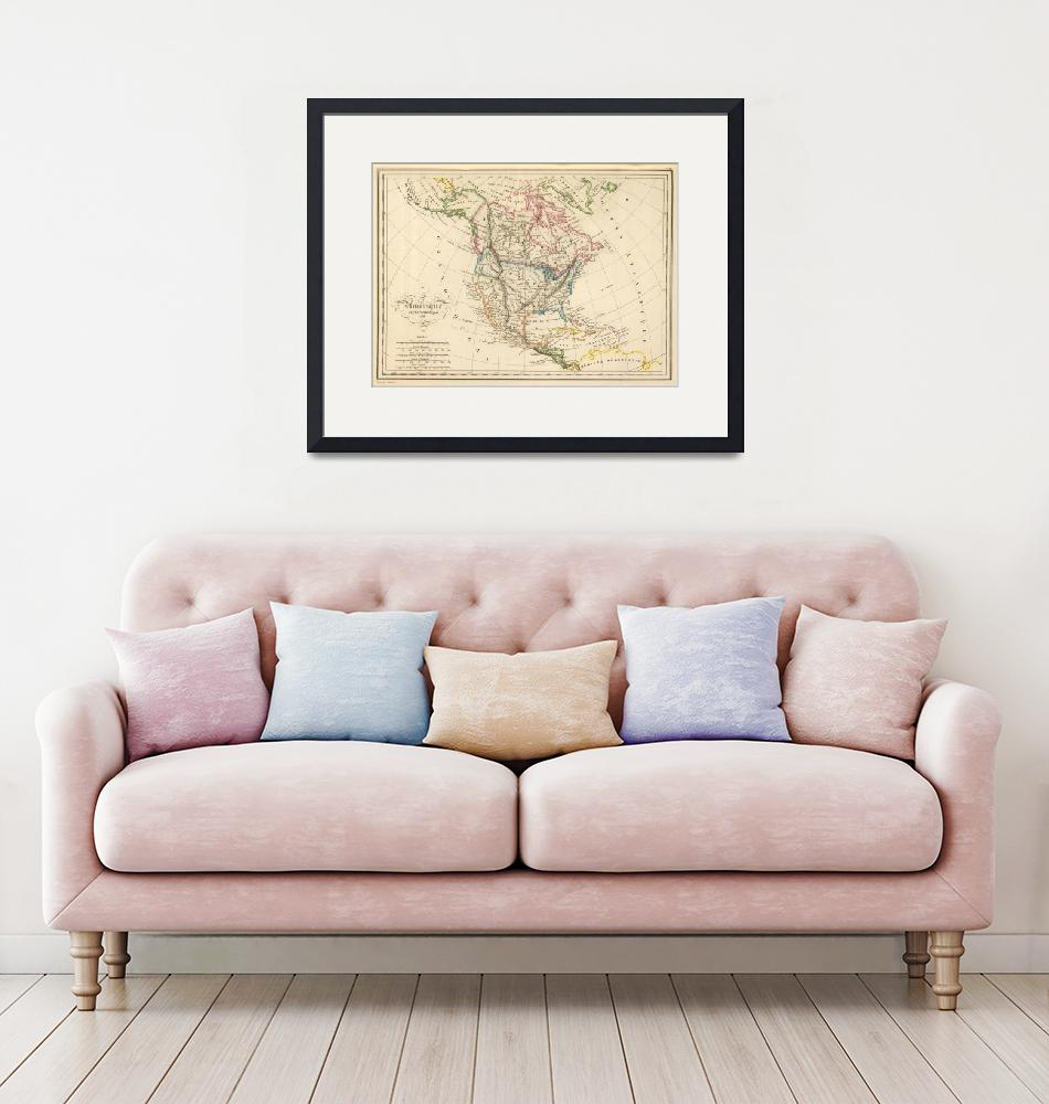"""""""Vintage Map of North America (1837)""""  by Alleycatshirts"""