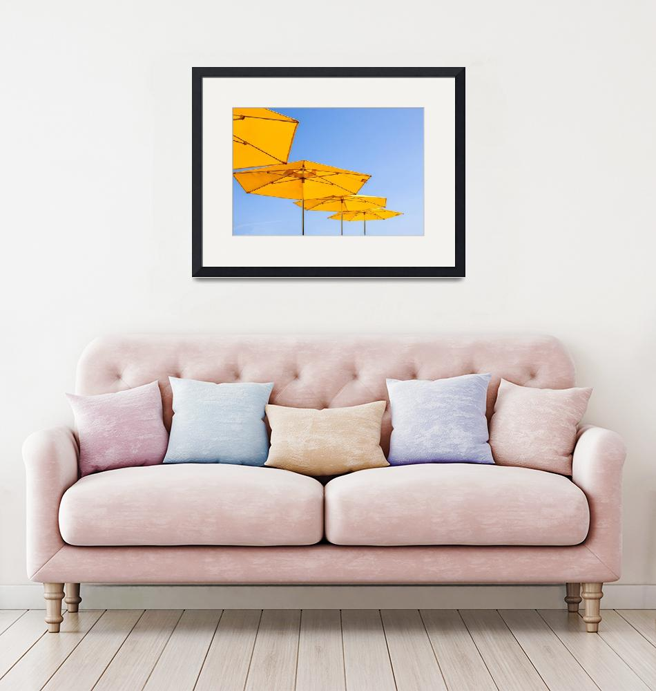 """""""yellow sunshades and bright blue sky""""  by cisfo"""