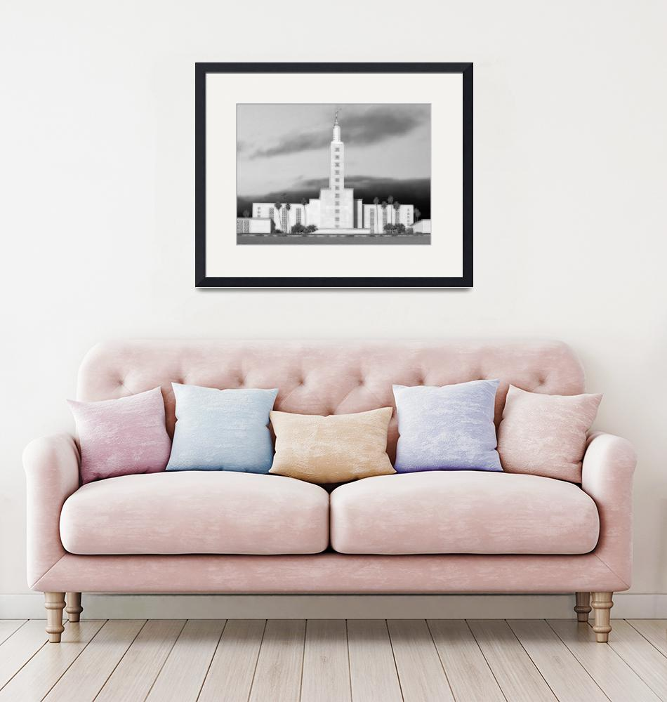 """Los Angeles Temple Large-16x22-BW""  by TerrySpringer"