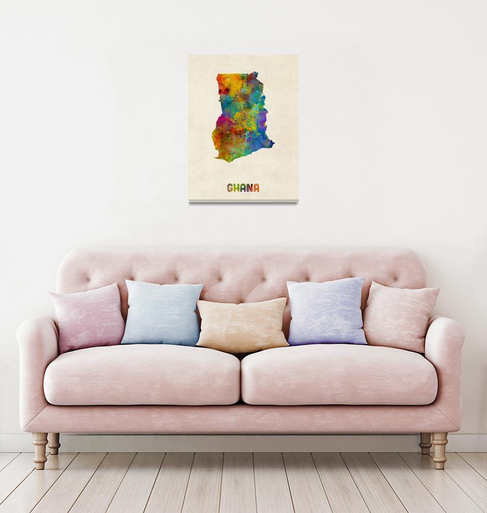 """Ghana Watercolor Map""  (2015) by ModernArtPrints"