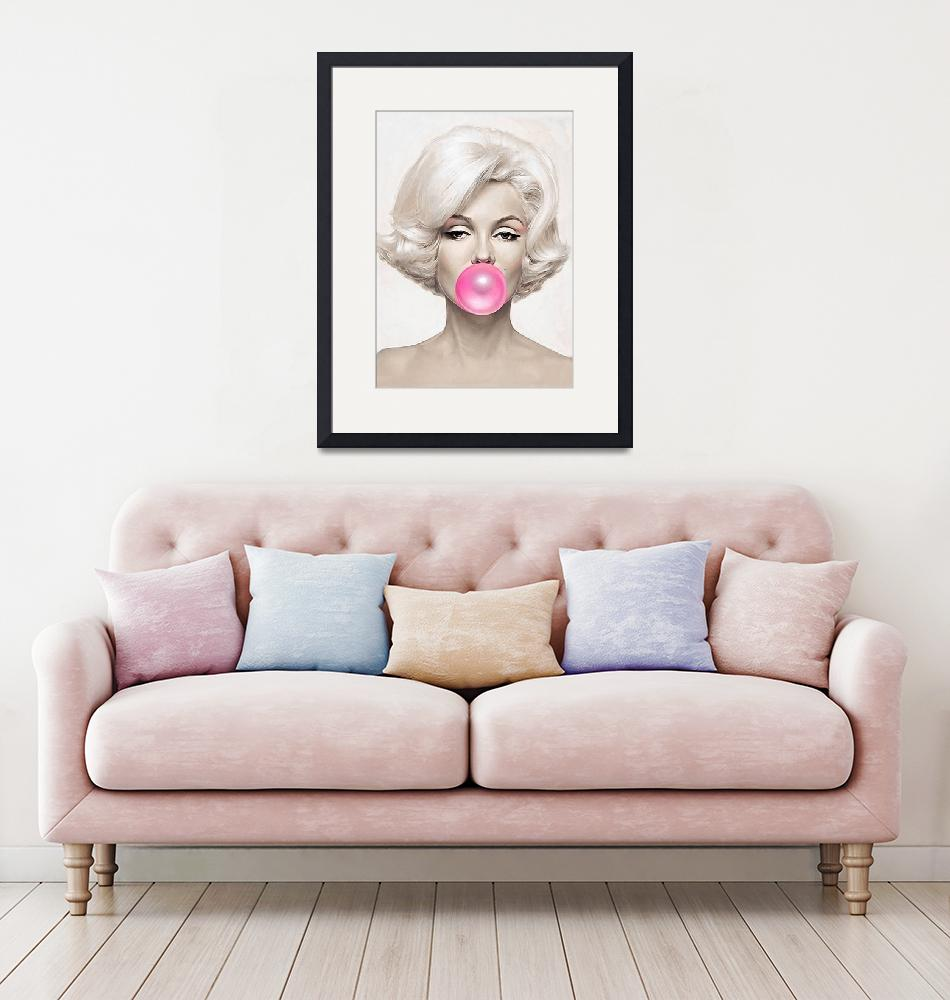 """""""Classic Bubble Gum Shot of Marilyn Monroe painted""""  (2019) by BritishYank"""