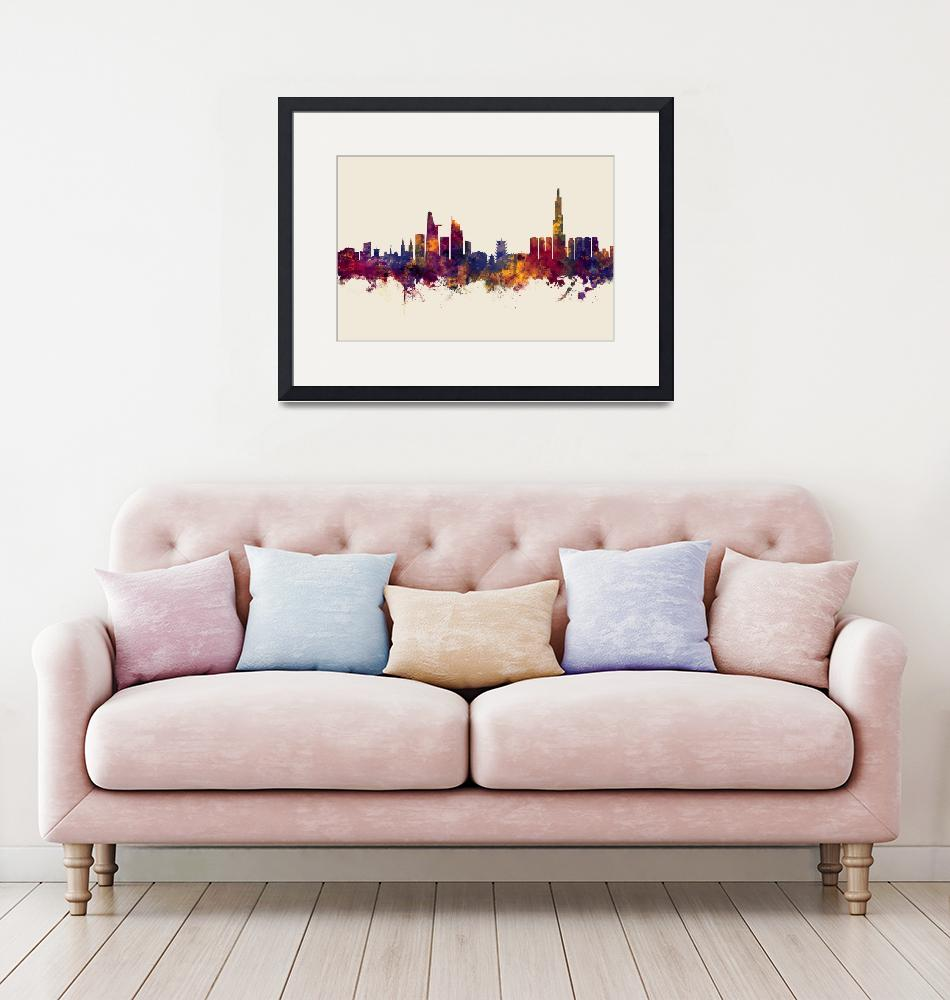 """Ho Chi Minh City Vietnam Skyline""  (2018) by ModernArtPrints"