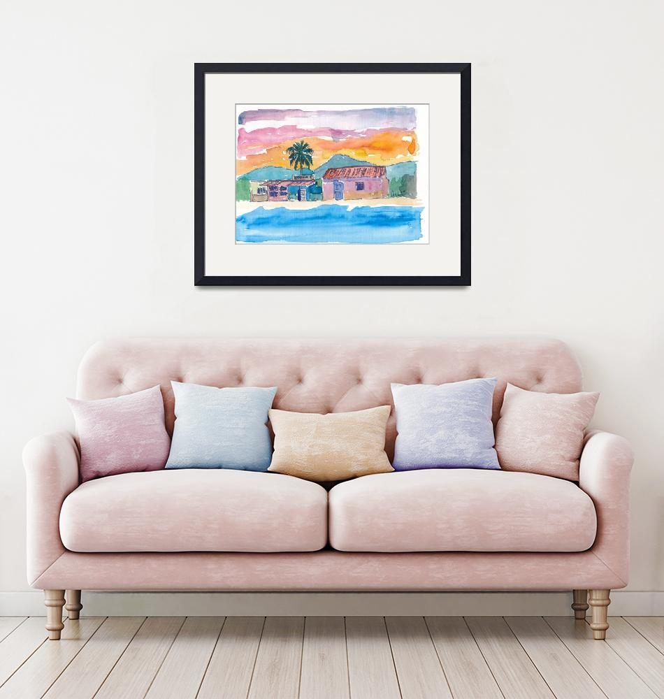"""Caribbean Beach House Bodega At Sunset""  (2018) by arthop77"