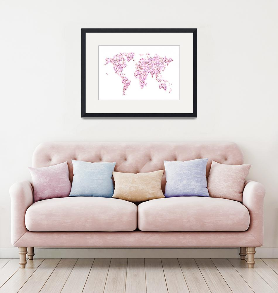 """Love Hearts Map of the World Map""  (2016) by ModernArtPrints"
