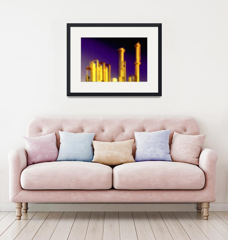 """Oil Refinery-Gold-Urban Industrial Art""  (2008) by Tulsa1000"