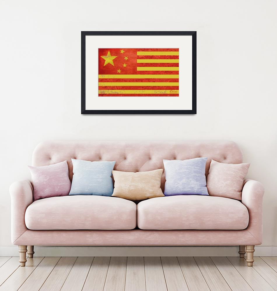 """Chinese American Flag""  by RubinoFineArt"