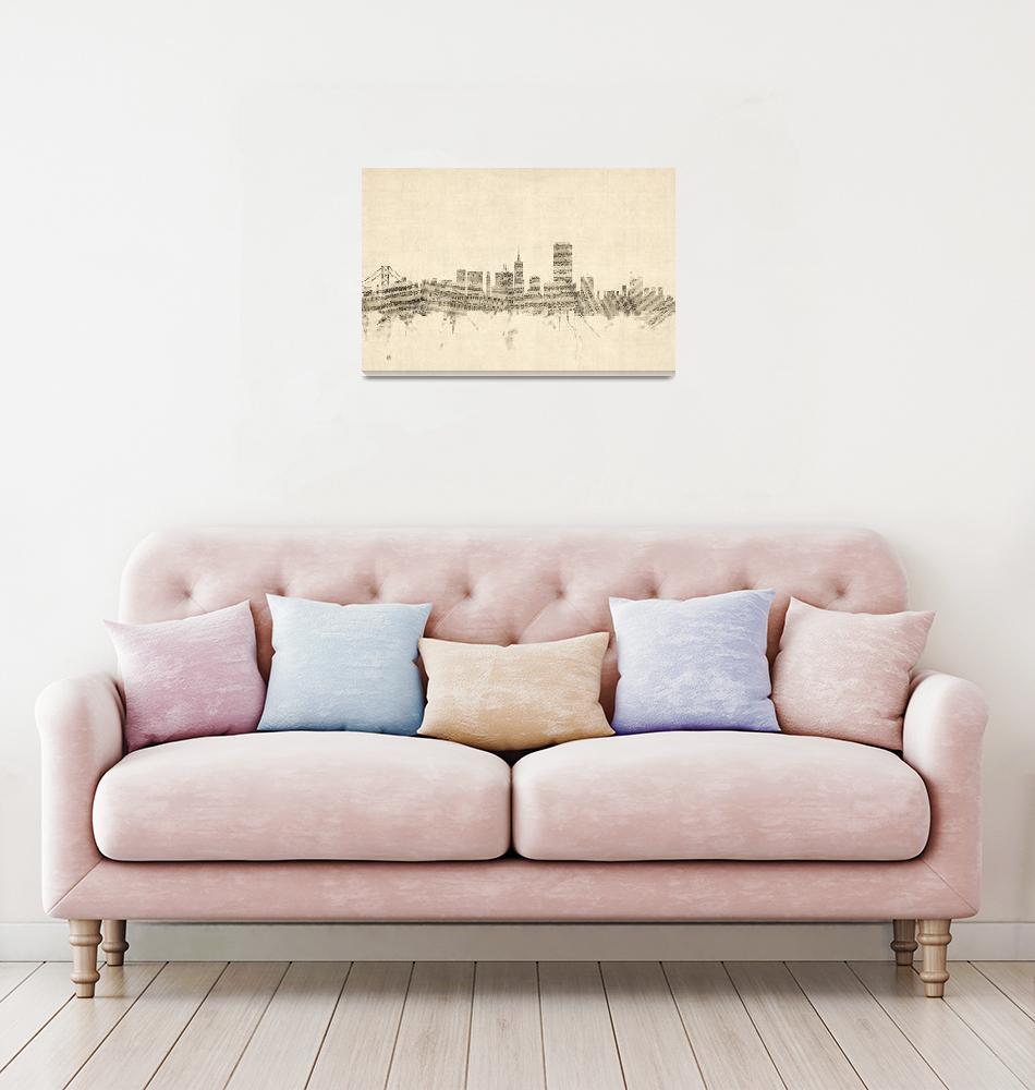 """San Francisco Skyline Sheet Music Cityscape""  (2014) by ModernArtPrints"