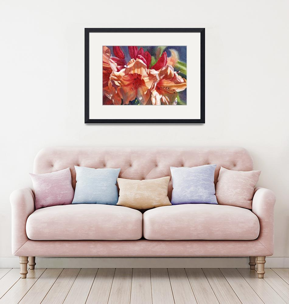 """""""Crimson and Bronze Colored Rhdodendron""""  (2010) by Pacific-NW-Watercolors"""