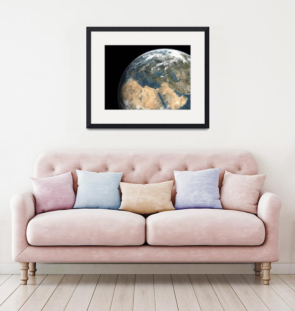 """""""Global view of earth over Europe, Middle East, and""""  by stocktrekimages"""