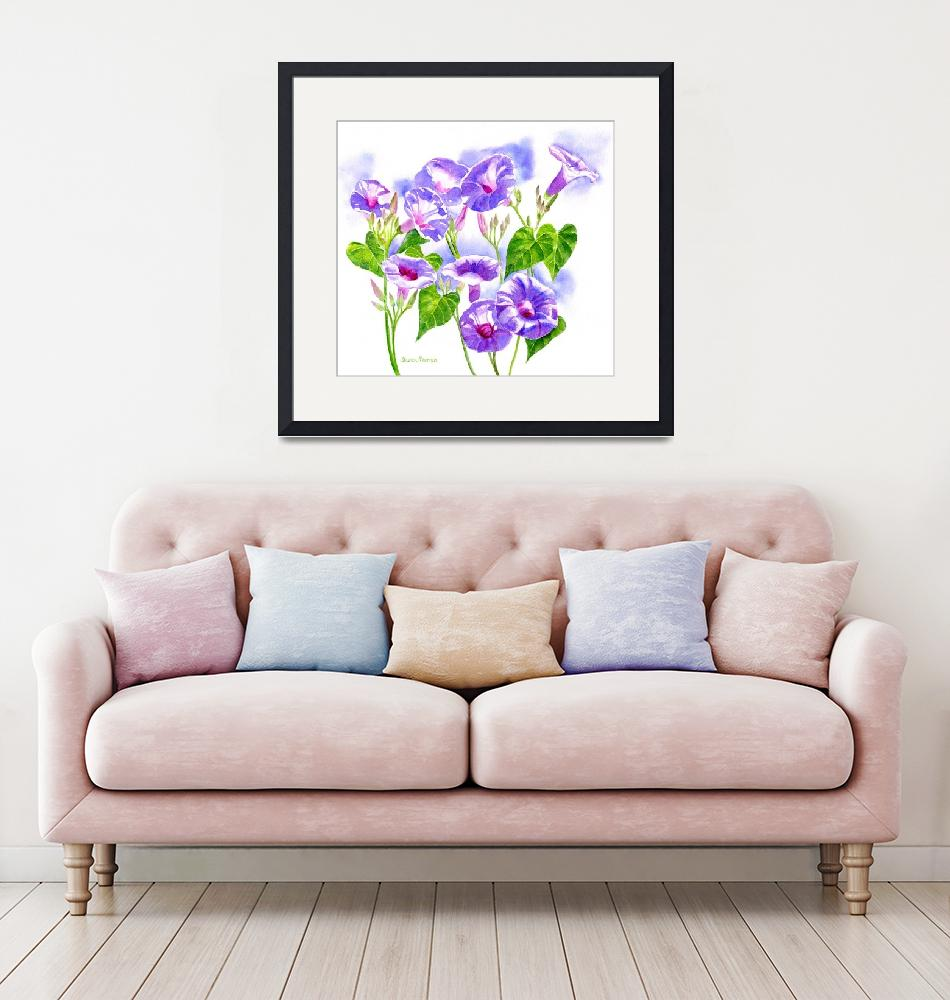 """""""Lavender Morning Glory Flowers""""  (2014) by Pacific-NW-Watercolors"""