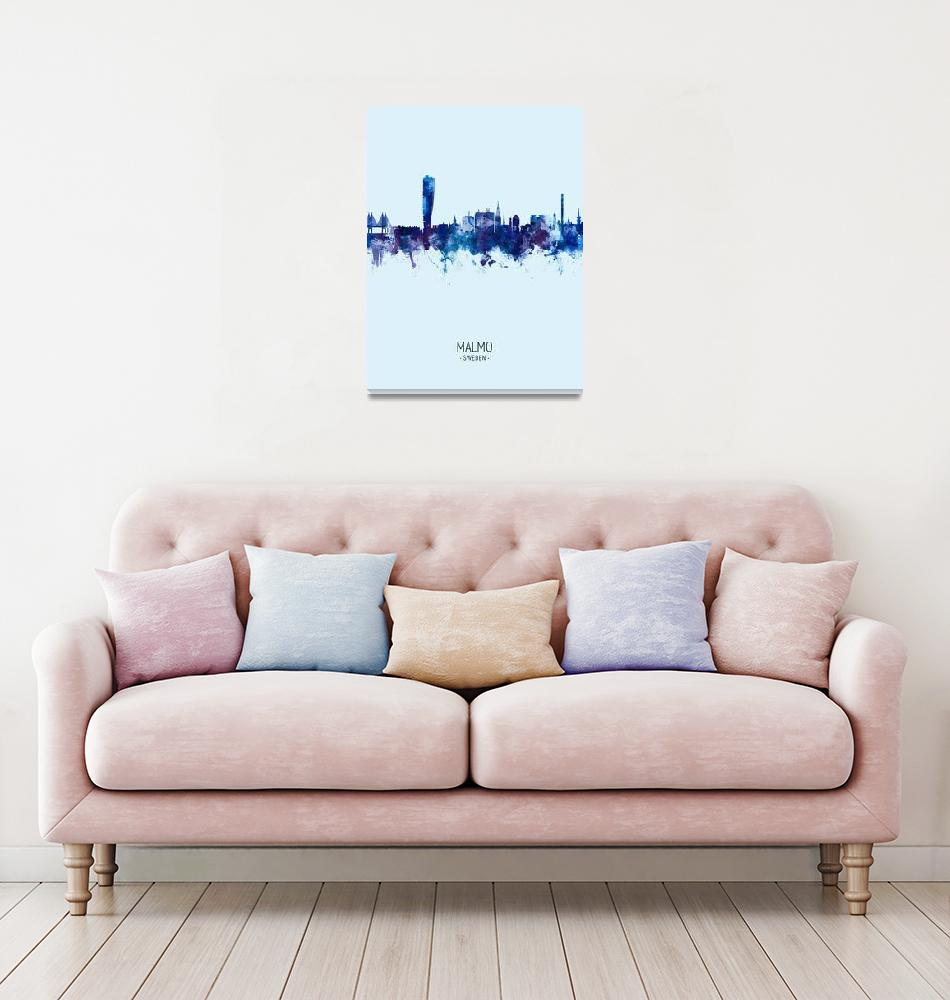 """Malmo Sweden Skyline""  (2019) by ModernArtPrints"