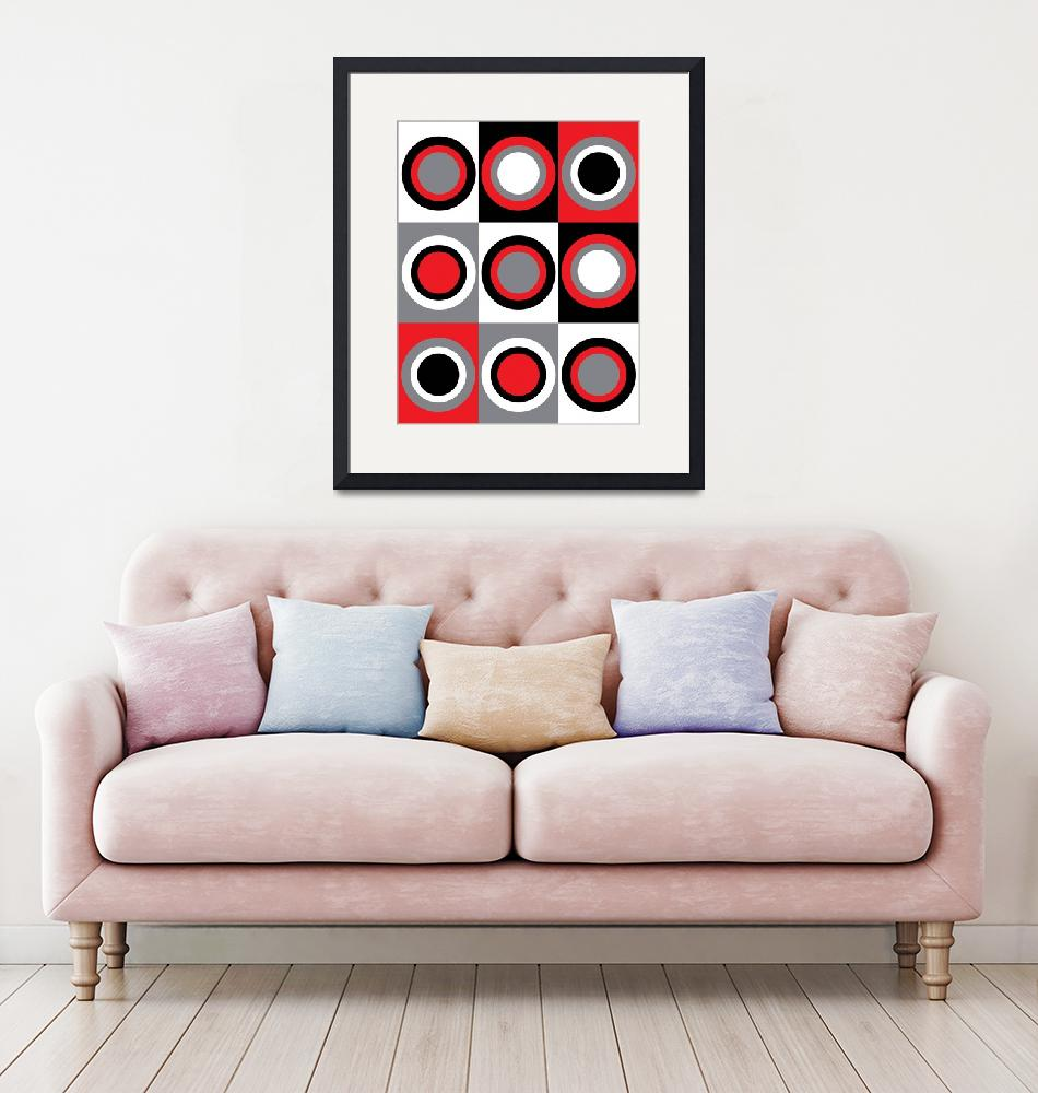 """""""Red Gray Black White Circles Pattern""""  (2021) by ValeriesGallery"""