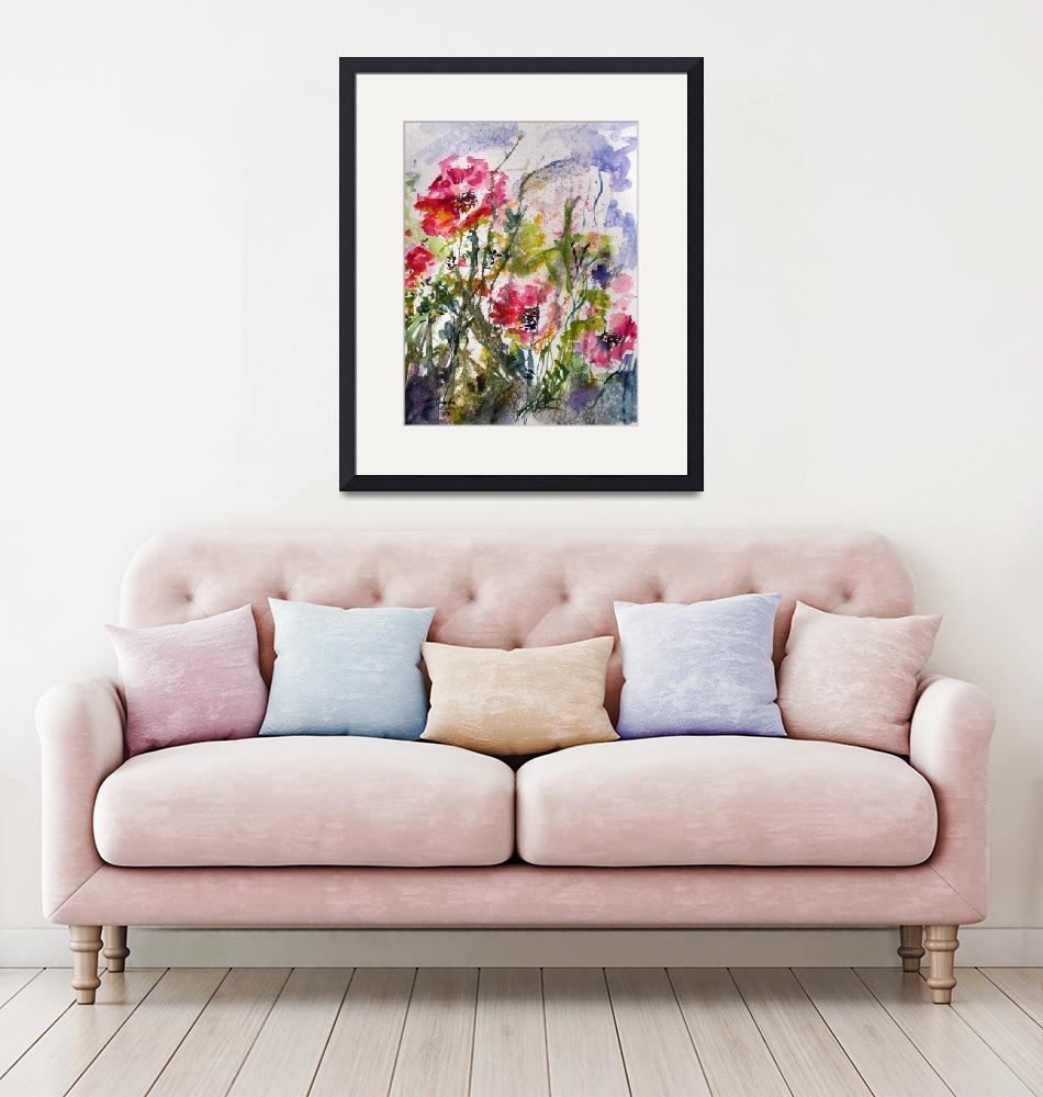 """""""Pink Oriental Poppies Watercolor by Ginette""""  (2009) by GinetteCallaway"""