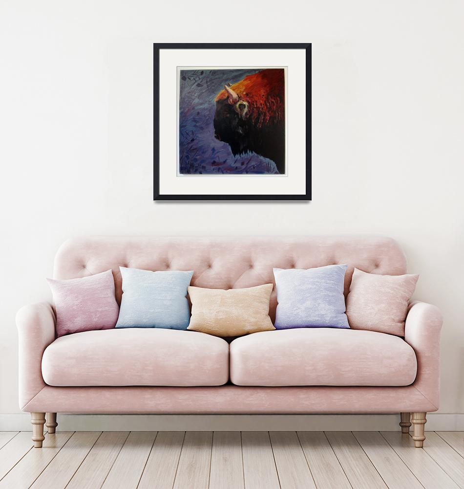"""""""Bison on mixed background""""  (2015) by BrettHudsonArt"""