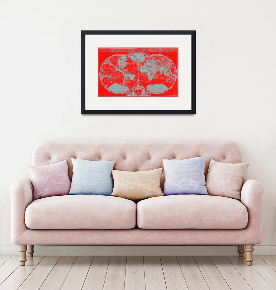 """World Map (1691) Red & Light Blue"" by Alleycatshirts"