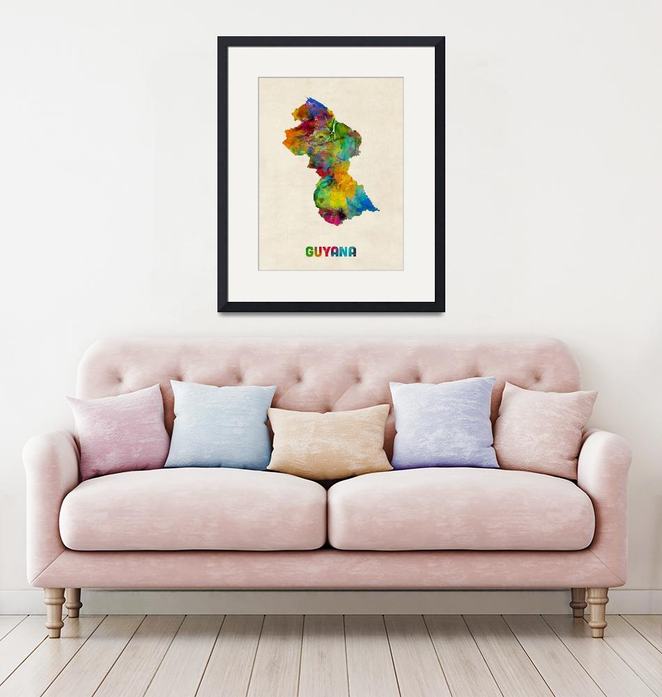 """Guyana Watercolor Map""  (2014) by ModernArtPrints"