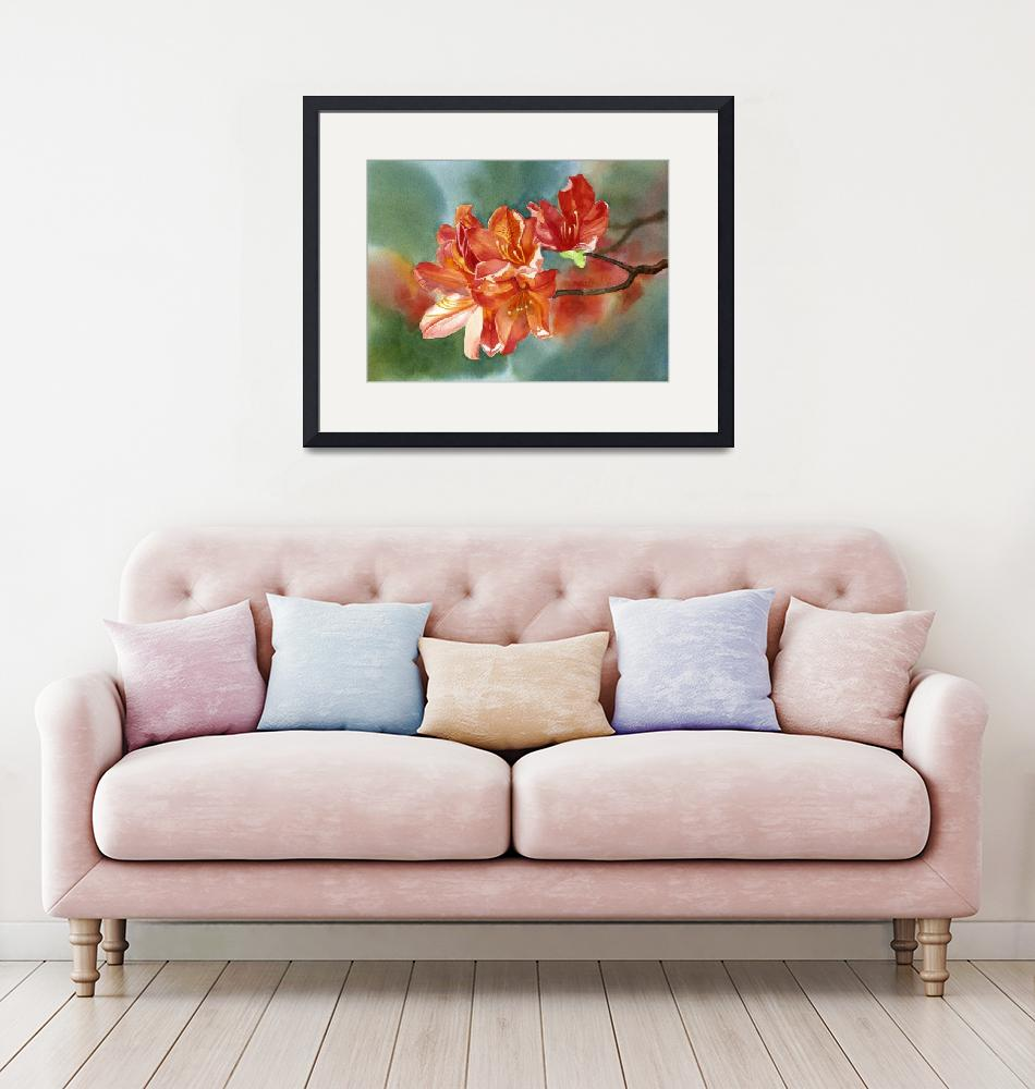 """Orange Azalea with Background""  (2012) by Pacific-NW-Watercolors"