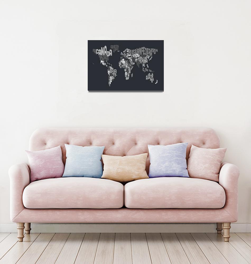 """""""Text Map of the World""""  (2012) by ModernArtPrints"""