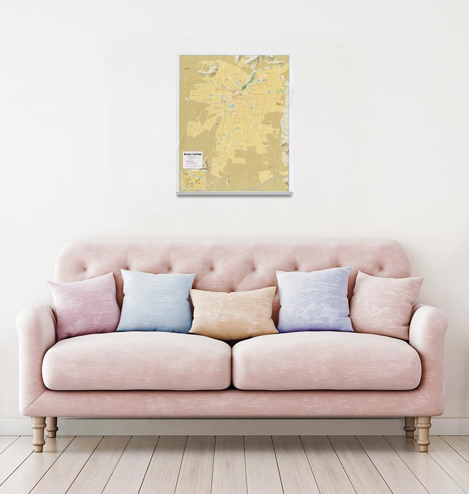 """""""Santiago Chile Map (1987)""""  by Alleycatshirts"""