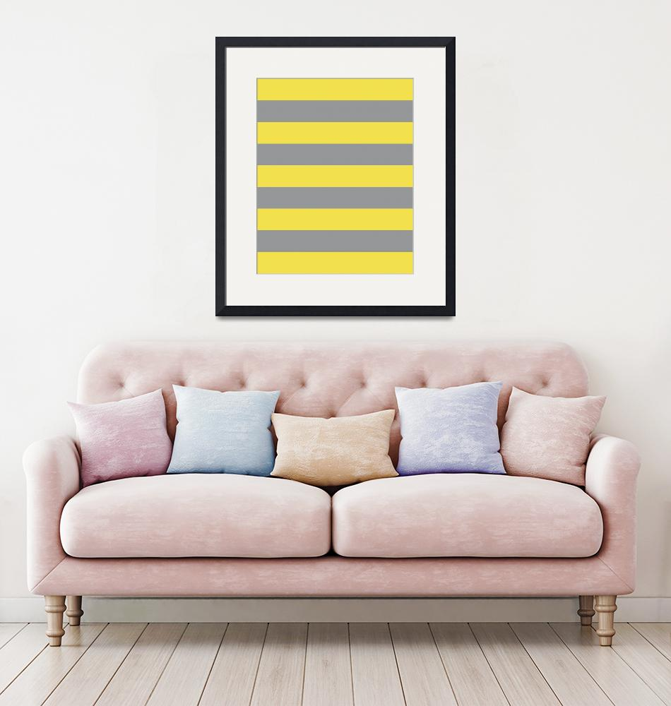 """""""Yellow Gray Stripes Geometric Pattern""""  (2020) by ValeriesGallery"""