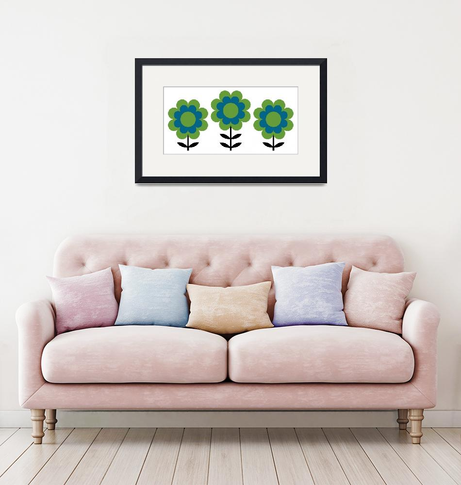 """""""Happy Flowers in Blue and Green""""  by DMibus"""
