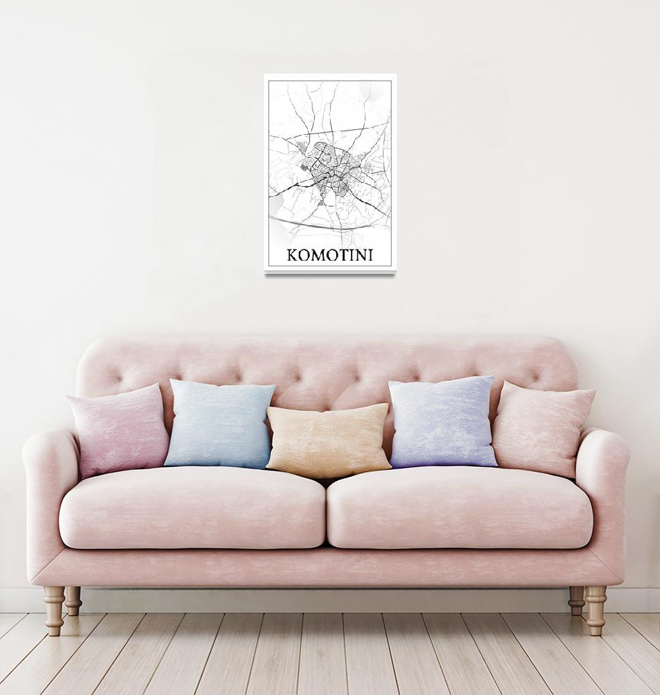 """Komotini, Greece, city map print.""  by dandistudio"