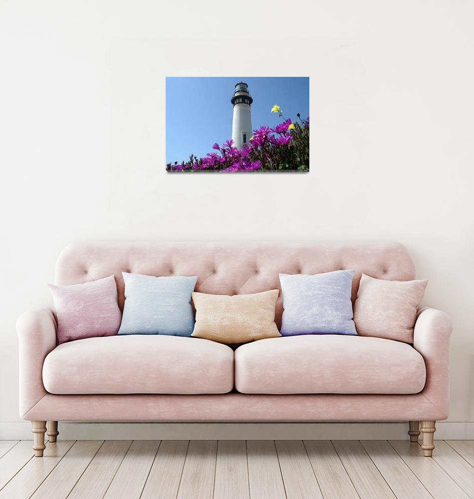 """Pigion Point Lighthouse Flowers""  (2004) by BobFikePhoto"